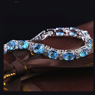 Swiss Blue & White Topaz 925 Silver Gemstone bracelet + Luxury Gift Box