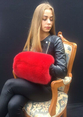 Fox Fur Hand Muffs Saga Furs Hand Warmer Fits All Extra Large Red Color