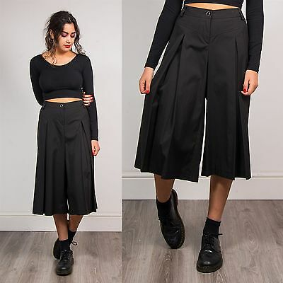 Plain Black Womens 90's Vintage Culottes Shorts High Waisted Smart Pleated 16