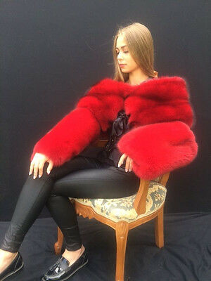 Fox Fur Hand Cuffs Saga Furs Hand Bands Extra Large Red Color with Elastic