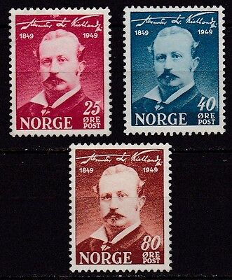 Norway #295-297 Mng Centenary Birth Of Alexander Kielland, Author