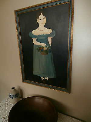 "Vintage Folk Art Oil Painting ""girl In Blue""~Colonial/early American~Primitive"