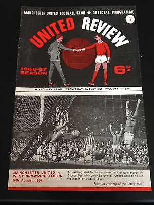 Manchester United  V Everton 1966/67 Programme Title Winning Year Excellent Cond