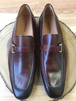 """Magnanni """"Lino"""" Brown Burgundy Leather Strap Loafers Men's Size 9.5 M"""