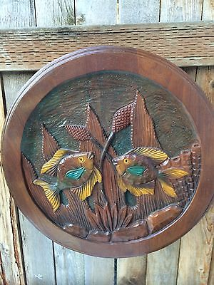 Imapro Wooden Carved Fish Plaque from Honduras 18""