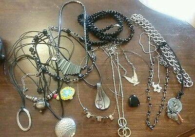 Vintage lot of 15 assorted necklaces black hematite corded stone silver chain