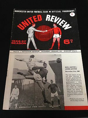 Manchester United  V  Spurs 1966/67 Programme Title Winning Year Excellent Cond