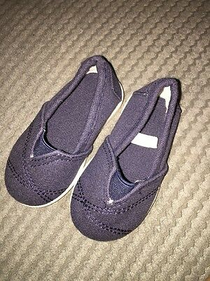 Mothercare Navy Blue Canvas Shoes Baby Boys Size 2 Pumps