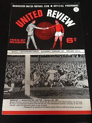 Manchester United  V Notts Forest  1966/67Programme Title Winning Year Exc Cond