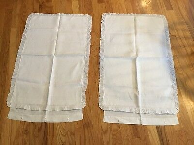 Set Of 2 Antique Linen Pillow Shams Cloth Covered Buttons Ruffled White