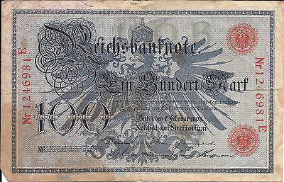 German 100 mark 1908 Reichsbanknote series: C0356610 - Qty 2
