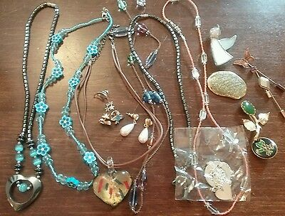 Vintage lot of  necklaces brooch tie tackle stick pin hematite flower angel