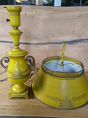 VIntage Yellow Tole Metal Table Lamp w/Gold Accents