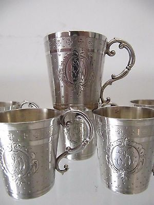 Gorgeous 19th c french guilloche sterling silver 6 vodka goblets Louis XVI st