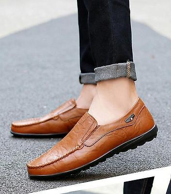 Men's Driving Casual Boat Shoes Leather Shoes Moccasin Slip On Loafers 9.5