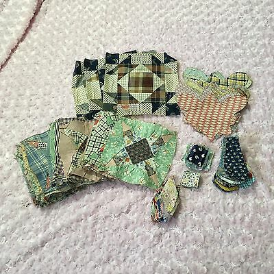 Antique Feedsack Quilt Square & Cutouts Hand Stitched Quilting Large Small Craft