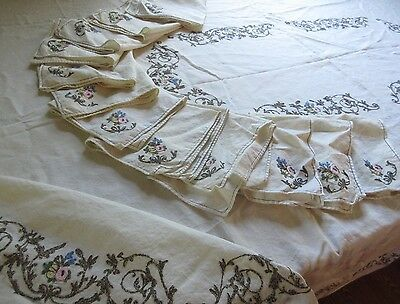 Antique/VTG Linen Table Cloth&12Napkin Set Rare Metallic Embroider Floral 67x97""