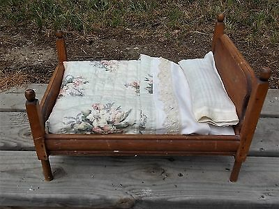 Antique Handmade Doll Bed with Quilt and Bed Linens Wood Four Post Bed