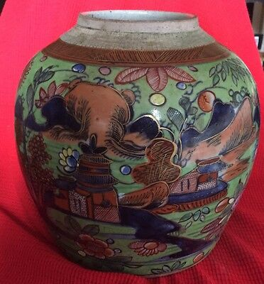 Antique Chinese Clobbered Decorated Jar Dragon Landscape