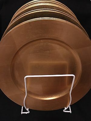 """15 Gold Plastic Decorative Charger Plates 13"""" in. (Set of 15) W/ Storage Rack"""