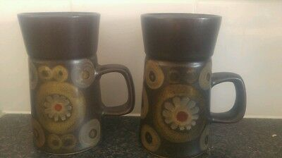 2 Vintage/Retro (Early 1970's) DENBY Arabesque Large Coffee Mugs