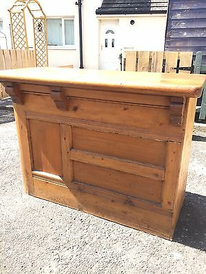 Small Victorian Pine Wood Shop Counter