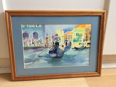 Lovely signed watercolour painting of Venice in wood frame