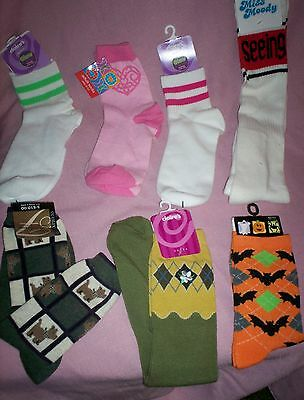 CLAIRE'S GIRLS LOT/7 Pr SOCKS GLOW in DARK ATHLETIC PUPPY HEARTS & FLOWERS-NWT