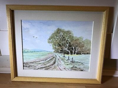 Lovely Watercolour Painting Of Landscape In Wood Frame