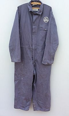 "1970s 1980s Mens ICI Blue Overalls Boiler Suit Size 46"" Chest Imperial Workwear"