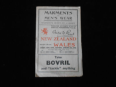 Wales V New Zealand Rugby Union Programme Cardiff 1946 Scarce