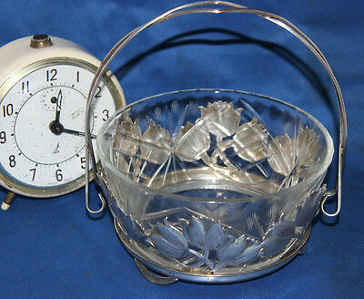 Vintage Cut Glass Crystal Bowl with Silver Plated Caddy with Handle [PL3631]