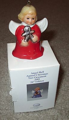 Goebel 2001 26th Edition Annual Angel Christmas Tree Bell Ornament in Box