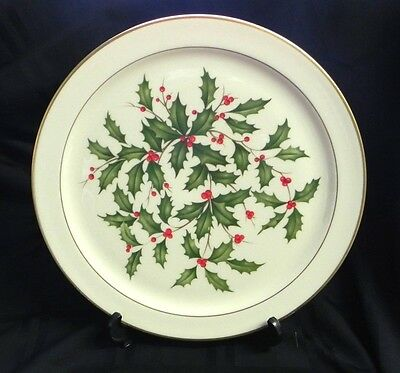 Lenox Holly Round Christmas Platter 24K Gold Trim