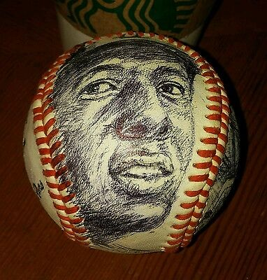 HANK AARON art ball, ink sketches on vintage, game used baseball, BRAVES