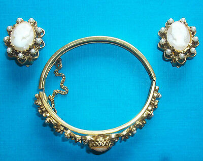 Florenza Goldtone Shell Cameo & Faux Pearl Clip Earrings + Bracelet Needs Repair