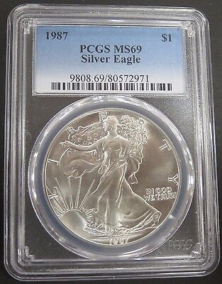 1987 PCGS UNC Graded MS69 Uncirculated 1oz Silver Eagle .999 Second Year #492