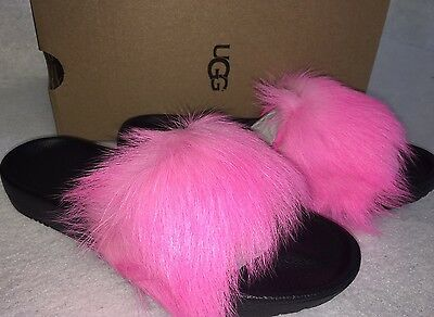 d2710aa5a58 UGG ROYALE NEON Pink Black Fluffy Fur Slides Slippers Womens Size 7 ...