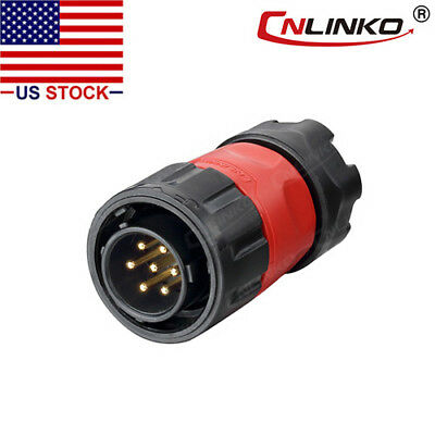 CNLINKO 7 Pin Power Signal Industrial Connector Male Plug Outdoor Waterproof