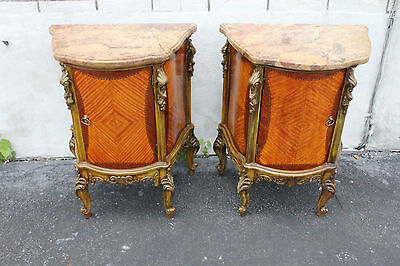 Gorgeous Pair French Louis XV Satinwood & Rosewood Gilded Nightstands Commodes