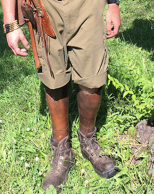 Original WWI US Officer's Heavy Leather Puttees - Gators - Leggings - Spats