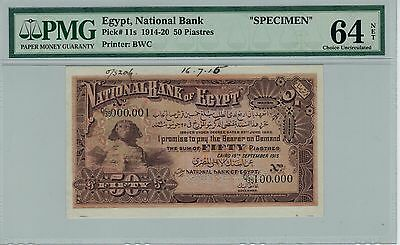 Egypt 1915 50 piastres p11s  specimen - UNC PMG 64 - VERY EARLY DATE  No Reserve
