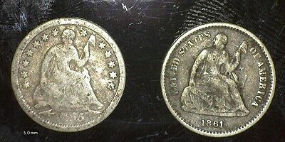 1855 With Arrows And 1861 Half Dimes