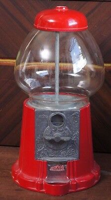 Vintage Red Carousel Bubble Gum Gumball Candy Machine Cast Metal Glass Globe 15""
