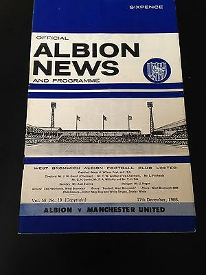 West Bromwich Albion V Manchester United 1966/67 Programme Title Winning Year