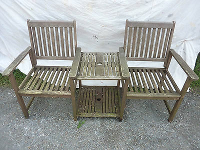 Wooden Love Seat Duo Garden Bench With Centre Table With Hole For Umbrella