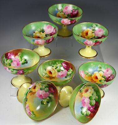 Limoges Set Of 8 Hand Painted Roses Punch Cups