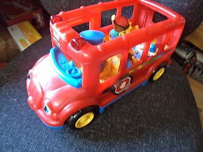 ELC Little People Plastic Toy -  Red School Bus with Lights & Sounds + 4 Figures
