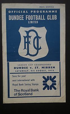 Dundee v St Mirren 8th August  1970 Scottish League Cup Programme