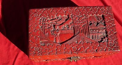 Antique old vintage Chinese China cinnabar carved red lacquer box  LARGE